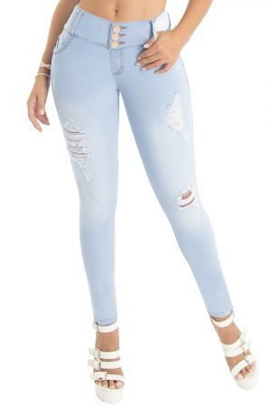 Jeans con destroyed azul claro S-2107