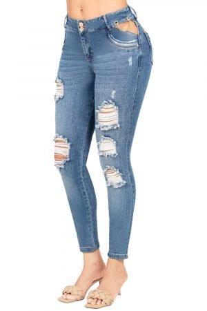 Jeans de moda colombia con abertura lateral UP-1037