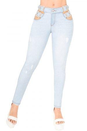 Jeans de moda colombia con correa a los lados UP-952