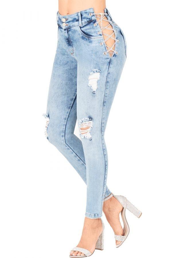 Jeans levanta cola con abertura lateral y cadena UP 957