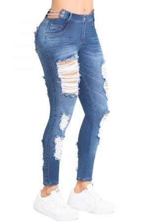 Jeans de moda colombia levanta cola con correas en pretina UP-979