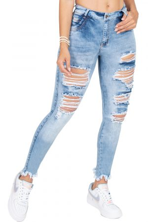 Jeans de Moda Colombia Destroyed Bota Tubo B-1311