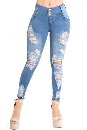 Jeans de Moda Colombia con Destroyed Levanta Cola S-2101-1